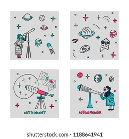 Set of square cards. Vector design of astronomer and astronomic objects.
