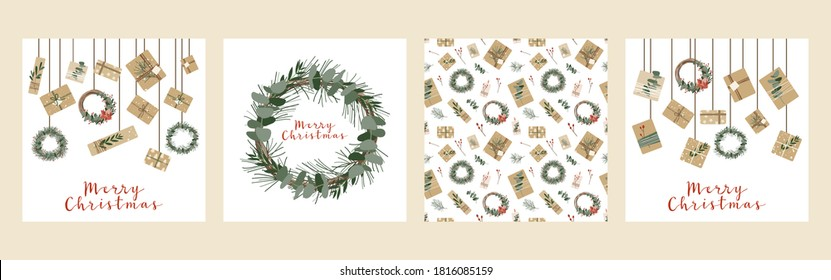 Set of square christmas cards, invitation. Presents in kraft paper, candles and wreaths. Rustic gift box. Eco decoration. Xmas and New 2021 Year celebration preparation. Vector flat cartoon style