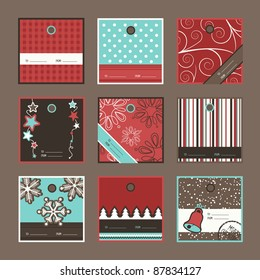 Set of square Christmas gift tags, vector