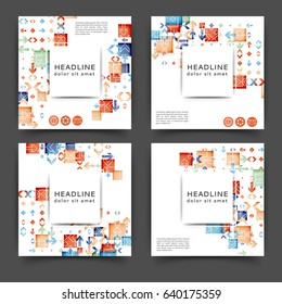 Set of square color brochures, book template with geometric elements