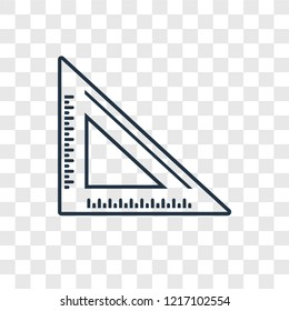 Set square concept vector linear icon isolated on transparent background, Set square concept transparency concept in outline style