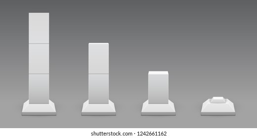 Set of square concrete footings in perspective. Vector illustration for colored, white or transparent background. Reinforced concrete pillars. Bridges, roads or buildings construct elements.
