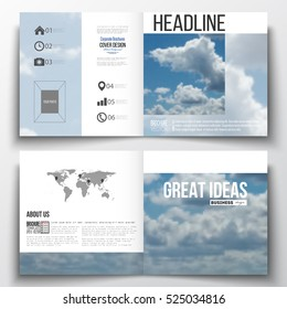 Set of square design brochure template. Beautiful blue sky, abstract background with white clouds, leaflet cover, business layout, vector illustration