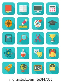 Set of square flat education icons with long shadows