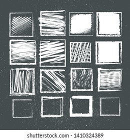 set of square and frames with chalk texture on grunge background