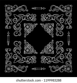 Set of square frames, corners, dividers in ornate vintage style. Pumpkin, witch hat, bat, broom, cute autumn elements. Black and white colors, chalkboard design.  Set 1 from 6