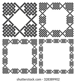 Set of square frames, rectangular patterns. 4 decorative elements for design with stripes braiding borders. Black lines on white background.