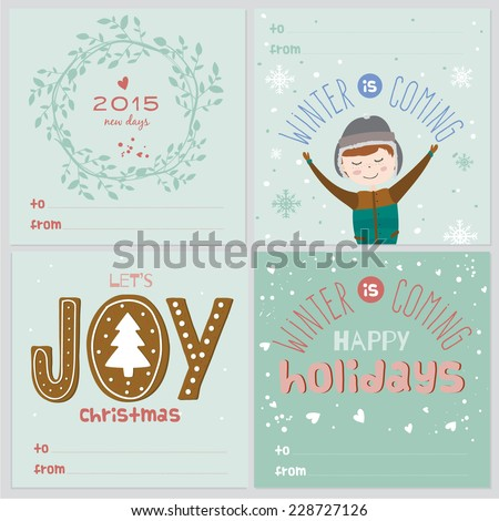Set square greeting cards christmas new stock vector royalty free set of square greeting cards with christmas and new year calligraphic and typographic background greeting m4hsunfo