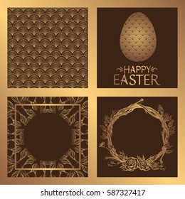 Set square greeting cards for Easter. Flyers with a gold pattern on a chocolate background.