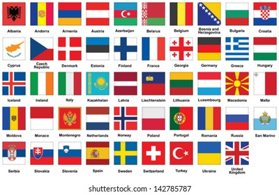set of square icons with flags of Europe