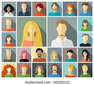 Set of square icons in flat style with long shadow. Various faces of men and women.