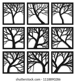 Set of square icons trees with branches and its shadow in frame.