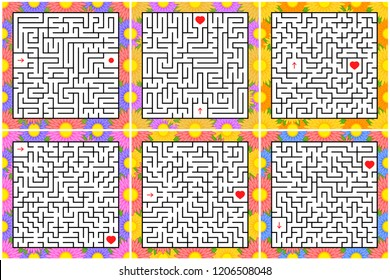 A set of square mazes. Game for kids. Puzzle for children. One entrances, one exit. Labyrinth conundrum. Flat vector illustration isolated on white background. With a bright floral frame.