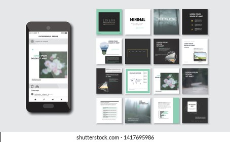 Set of square modern blog posts .Editable simple blur banner shop, trendy covers idea. Slides for app, web digital style. Cards handpicked beauty screen. Technology collection.