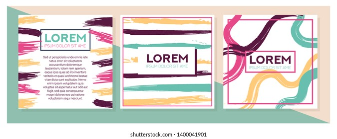 Set of square modern brush strokes patterns