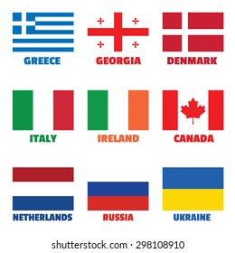 Set of square national flags with title for web, printing materials, tv.