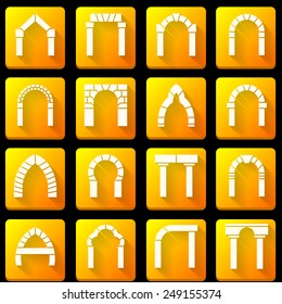 Set of square orange vector icons with white silhouette brick arch different types with shadow on black background.