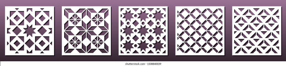 Set of square panels for laser cutting. Abstract geometric pattern, template for metal cut or wood carving, stencil or die, paper art, fretwork. Card background decoration, interior design. Vector