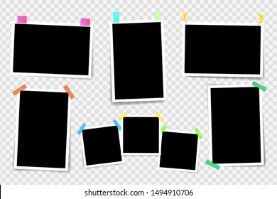 Set of square photo frames on sticky tape, pins. Template photo design. Vector illustration. Isolated on transparent background. Vector illustration.