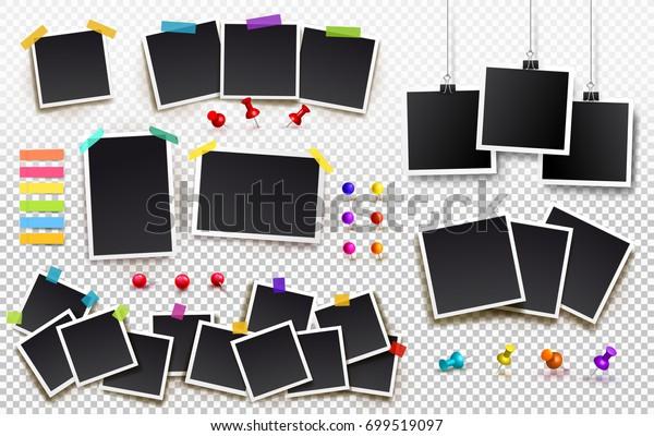Набор квадратных фоторамок на липкой ленте, булавки и заклепки. Шаблон фото дизайна. Векторная иллюстрация. Изолированные на прозрачном фоне