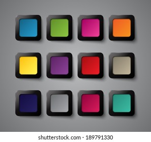 Set of square plastic buttons for websites. Clean and modern style design