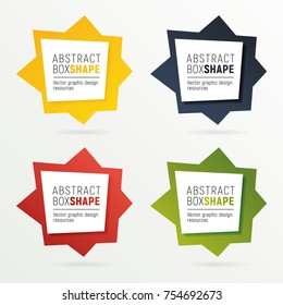 Set of square polygon banners of bright colors. Ready to use option infographics. Flashy frame for your message.