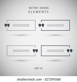 Set of square quote text bubbles. Vector illustration.