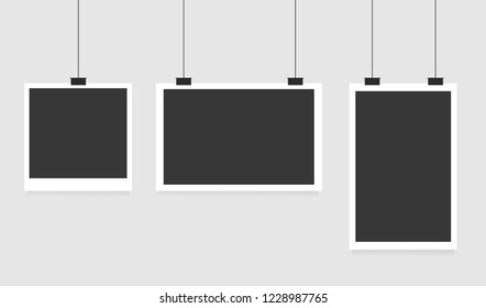 Set of square and rectangular vector photo frames on pins. Vertical and horizontal template photo design