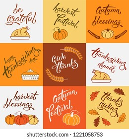 Set of square thanksgiving greeting cards for holiday design with lettering, pumpkins, oak leaves, turkey, pumpkin pie, wheat ears. Suitable for postcard, banner, icon, logo, banner, tag, bag. EPS 8