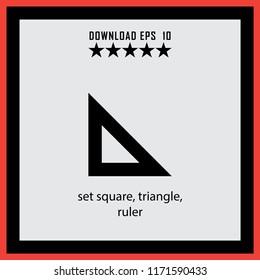 set square, traingle, ruler  vector icon