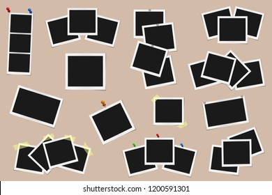 Set of square vector photo frames on sticky tape, pins and rivets isolated on beige background. Template photo design. Vector illustration
