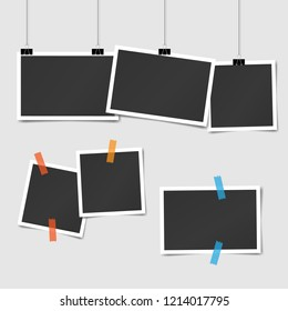set of square vector photo frames on sticky tape and pins. Vertical and horizontal template photo design