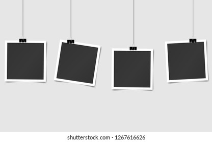 set of square vector photo frames on pins. Template photo design