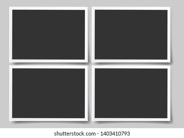 Set of square vector photo frames. Set of square and rectangular vector photo frames. Vertical and horizontal template photo design