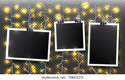 Set of square vector photo frames on binders and yellow light garlands. Template photo design. Horizontal and vertical templates. Vector illustration. Isolated on transparent background