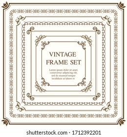 Set Of Square Vintage Frames Isolated On A Plain Background. Vector Illustration.