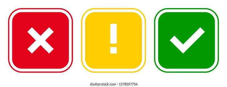 Set of square x mark, exclamation point, check mark icons, buttons isolated on white background.