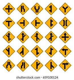 Set of square yellow road signs