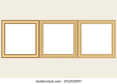Set of squared golden vintage wooden frame for your design. Vintage cover. Place for text. Vintage antique gold modern rectangular frames. Template vector illustration.