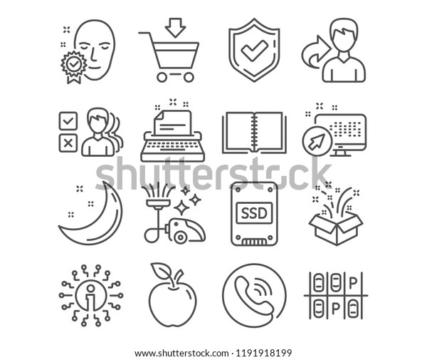 Set Ssd Online Market Typewriter Icons Stock Vector (Royalty