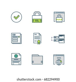 Set of the SSL Certificate Theme Icons in Flat Style. Includes Browsers, CSR Request, Certificate, Lock, Domain, Server and Hosting Folders