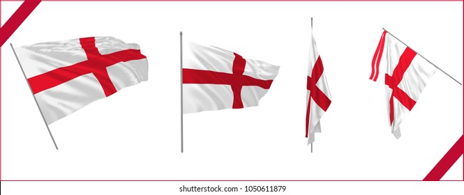 Set of St George Cross or England flag waving in solemn or proud style. Vector illustration.