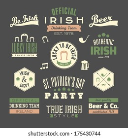 A set of St. Patrick's Day chalkboard style typographic design elements.