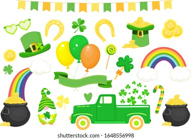 Set of St. Patrick`s day icons and elements. Vector illustration