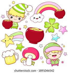 Set of St. Patrick's day icons in kawaii style. Little leprechaun, cute elf with pot of gold, rainbow, mushroom, gold coins in pot, clover leaf. Vector illustration EPS8