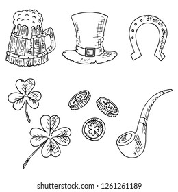 Set of St. Patrick's Day illustrations. Vector cartoon sketches. Isolated objects on a white background. Hand-drawn style.