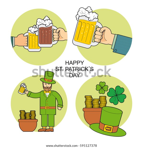 Set for St. Patrick's Day. The image of hands with a mug of beer, a leprechaun wearing a hat with a pot of gold coins celebrates St. Patrick's Day.