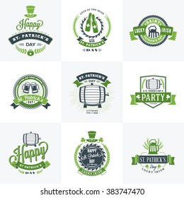 Set of St. Patricks Day Retro Holiday Badges. Vector Greetings Card Design. Saint Patricks Day Background. Happy Saint Patricks Day