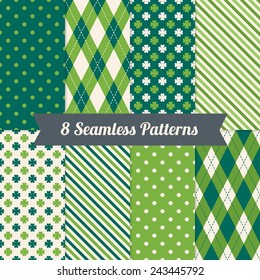 Set of St. Patrick's Day Seamless Patterns with Polka Dot, Argyle, Diagonal Stripes and Clover in Green, Dark Green and White. Perfect for wallpapers, pattern fills, web backgrounds, greeting cards