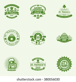 Set of St. Patrick's Day vintage holiday labels and badges. Vector design greetings card or poster templates.